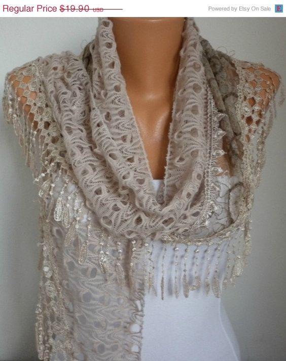Lace Scarf   scarf shawl  Sale scarf  Silvery  Free scarf by anils, $17.91. I want one!