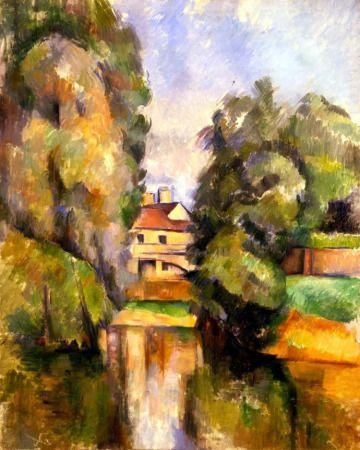 """""""Casa de Campo con Río"""" Pintura francesa de Paul Cézanne, titulada Casa de Campo cerca de un Río, data del año 1890. Se trata de un paisaje típico del impresionismo francés, organizado con una geometría algo más simplificada. La coloración y la distribución de elementos son excepcionales"""