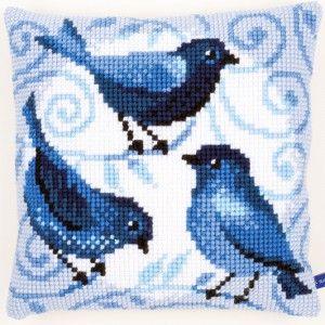 Kussen met vogels om zelf te borduren in kruissteek