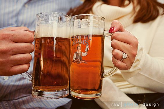 Engagement photos with our matching brewery mugs. Use same mugs at wedding for toast. Get engraved.