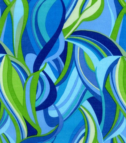 Lawn Fabric Blue and Green Swirl Cotton Lawn by MakingStuffUP, $3.99