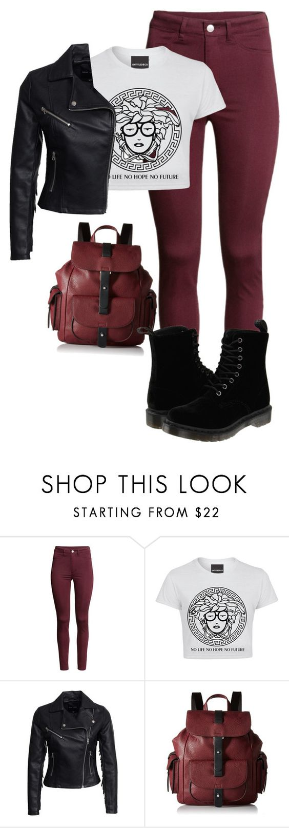 """""""Maroon"""" by kacieh ❤ liked on Polyvore featuring H&M, New Look, Kenneth Cole Reaction and Dr. Martens"""
