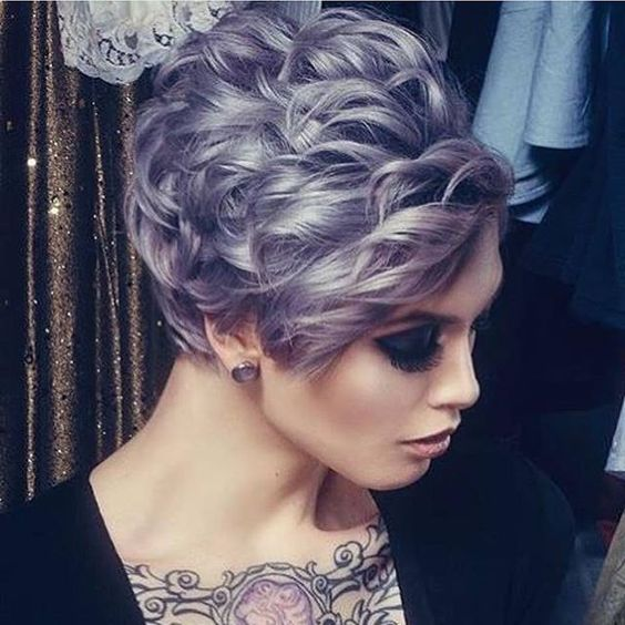 Silver Lavender Hair Color and short curly style by Rose Danilo hotonbeauty.com