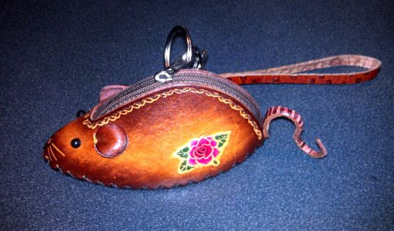 Leather MOUSE Coin  Purse Wallet Wristlet Purse for by matryona, $21.99