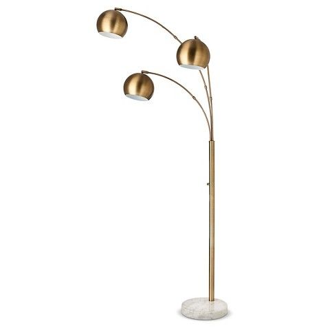3 Globe Arc Floor Lamp Antique Brass Includes Cfl Bulb Threshold Arc Floor Lamps Modern Brass Floor Lamp Floor Lamp