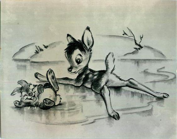 氷に寝そべるバンビととんすけ
