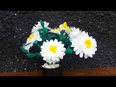 Diy Bunga Platik Kresek Kerajinan Tangan Bunga Mudah Krisan Putih