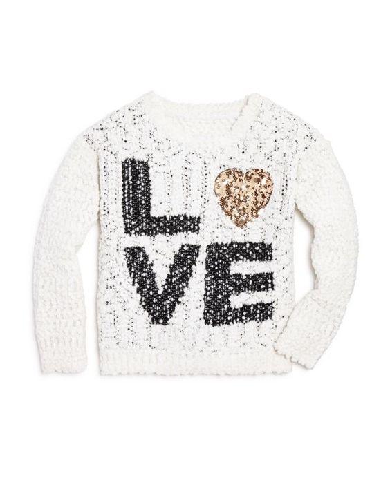 Bloomie's Girls' Popcorn Stitch Love Sweater - Sizes 2-6X