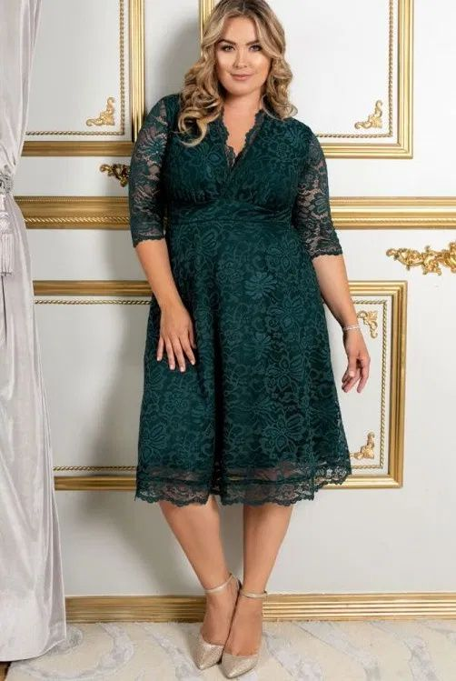 Plus Size Lace Dresses With Sleeves The Perfect Style Plus Size 3 4 Length Sleeve Lace Dress In 2020 Plus Size Lace Dress Fit And Flare Cocktail Dress Cocktail Dresses With Sleeves