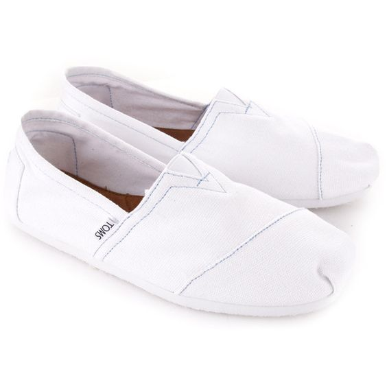 Toms White Classic Canvass Slip On found on Polyvore