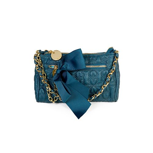 Teal Love Drops Evening Pouch by Deux Lux