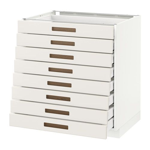 IKEA METOD/MAXIMERA base cabinet 8 fronts/8 low drawers Smooth-running drawers with stop.