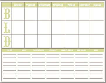 Another meal planner from The Project Girl. This one works great for planning holidays or meal planning for trips to a beach cabin or weekend full of cooking.