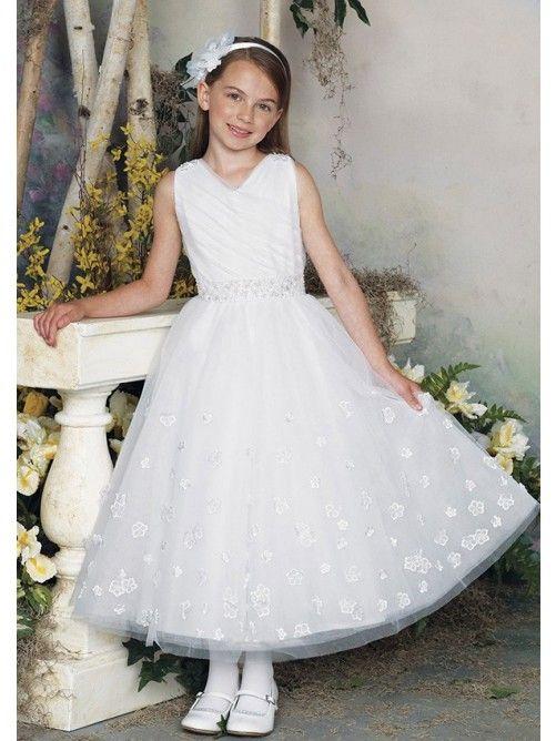 Princess-Linie V-Ausschnitt Ärmellos Knöchellang Tüll Blumenmädchenkleid