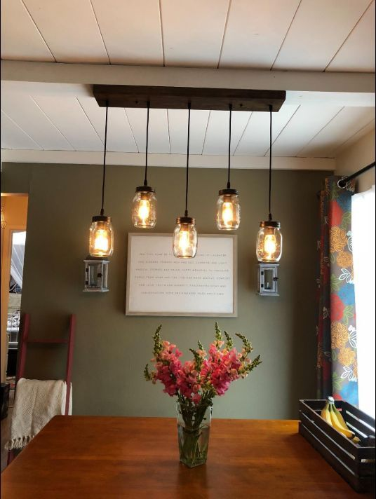 Mason Jar Lighting Is Perfect Above Dining Room Table Amazing Photo From Our Amazon Cus Rustic Kitchen Lighting Farmhouse Dining Room Lighting Dining Lighting