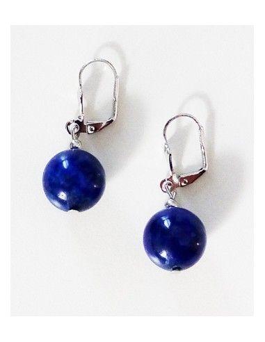 Boucles d'oreilles lapis-lazuli boules 1.2 cm