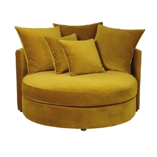Mustard Yellow 1 2 Seater Round Velvet Sofa Dita Maisons Du Monde Velvet Sofa Round Sofa Yellow Sofa