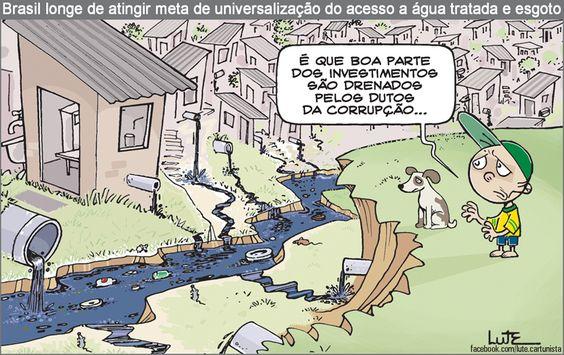 Charge do Lute sobre saneamento básico no Brasil (24/01/2017) #Charge #Saneamento #SaneamentoBásico #Esgoto #Água #Brasil #HojeEmDia