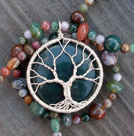 Colors of Jasper Tree of Life Necklace. $145.00, via Etsy.