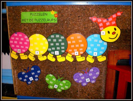 puzzelrups peuters - Google zoeken - rupsen per kleuter en 1 grote gouden/zilveren vlinder voor 3D puzzels ....