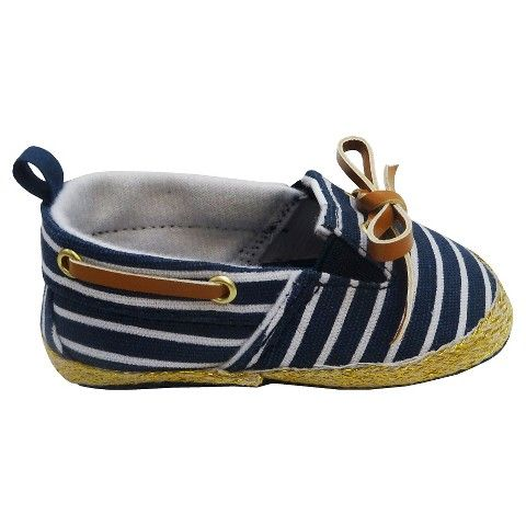 Newborn Girls' Striped Boat Shoes - Navy