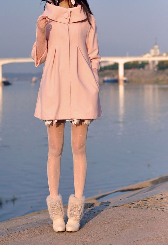 Pink Cape Wool Coat Winter Woman Cloak Long Dress Coats Woolen
