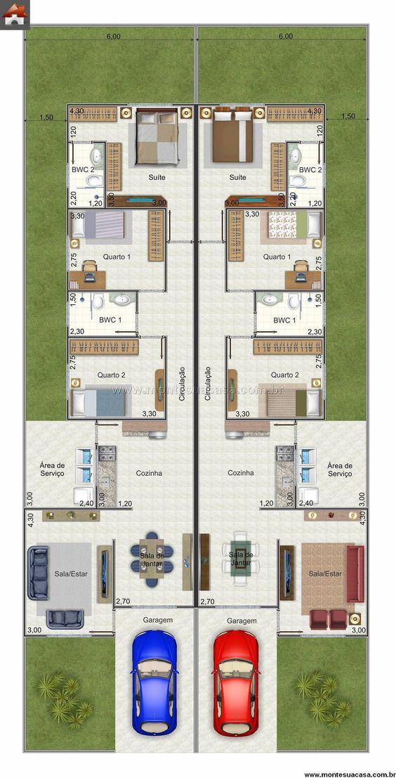 Casa 2 Quartos 84.2m² Plantas e projetos Pinterest