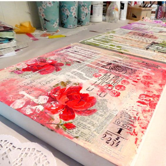 Making mixed media backgrounds! Artistic process, vintage papers, old books, sheet music.: