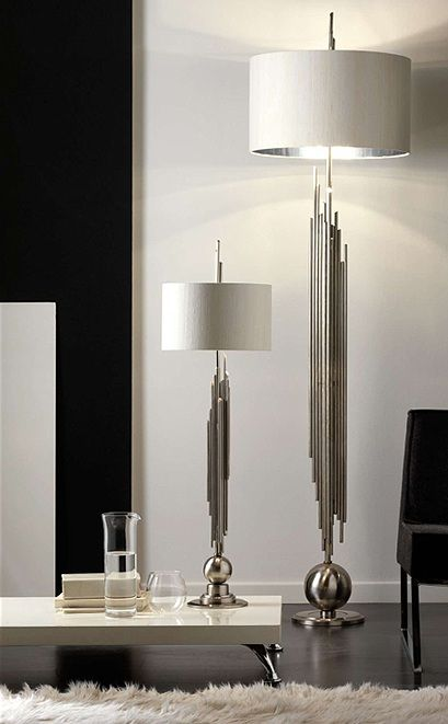 Luxury Designer Silver Plated Table & Floor Lamps, so glamorous, over 3,000 beautiful limited production interior design inspirations inc, furniture, lighting, mirrors, tabletop accents and gift ideas to enjoy pin and share at InStyle Decor Beverly Hills Hollywood Luxury Home Decor enjoy & happy pinning