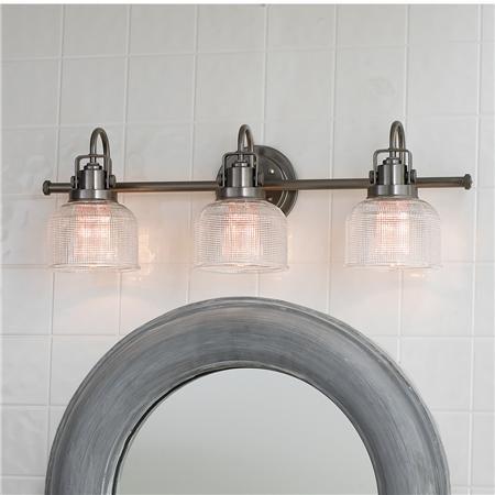 Double Glass Vanity Light : Fresnel Glass Restoration Bath Light - 3 Light Aesthetics, Vanities and Glasses