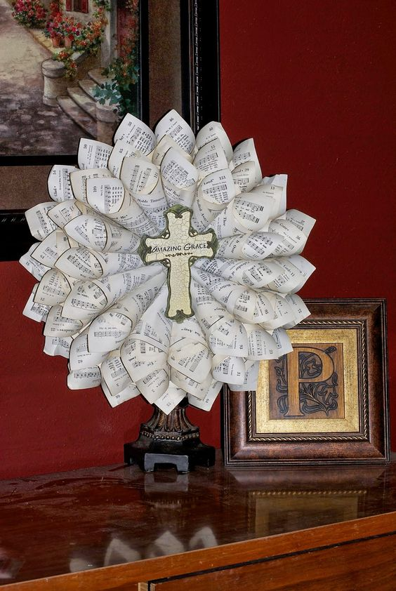 Old Hymnal Wreath (Ask Gingee if the church has any to ...