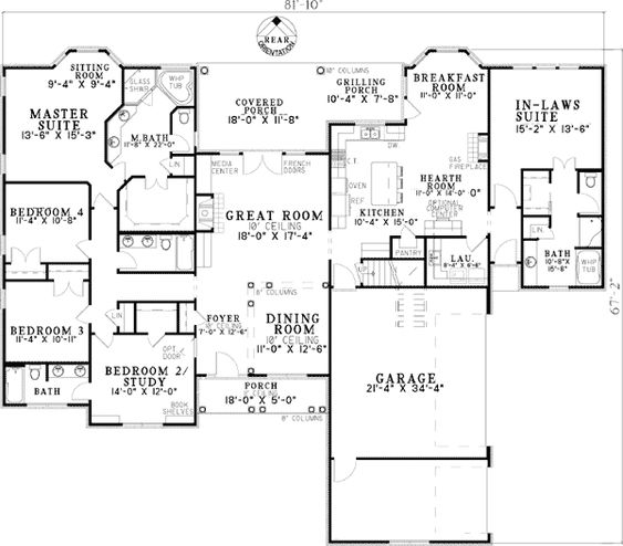 Plan 59679nd open living with in law suite bonus rooms for Garage with inlaw suite plans