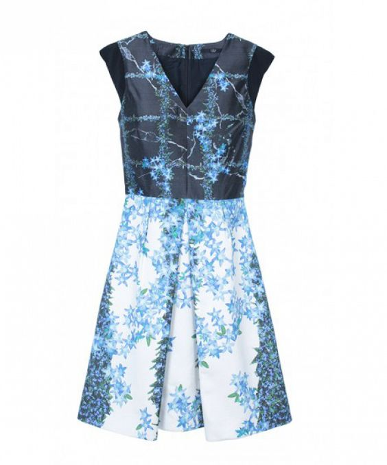 Add interest to your outfit with a mixed-media piece // Tibi Windowpane Floral Dress in blue