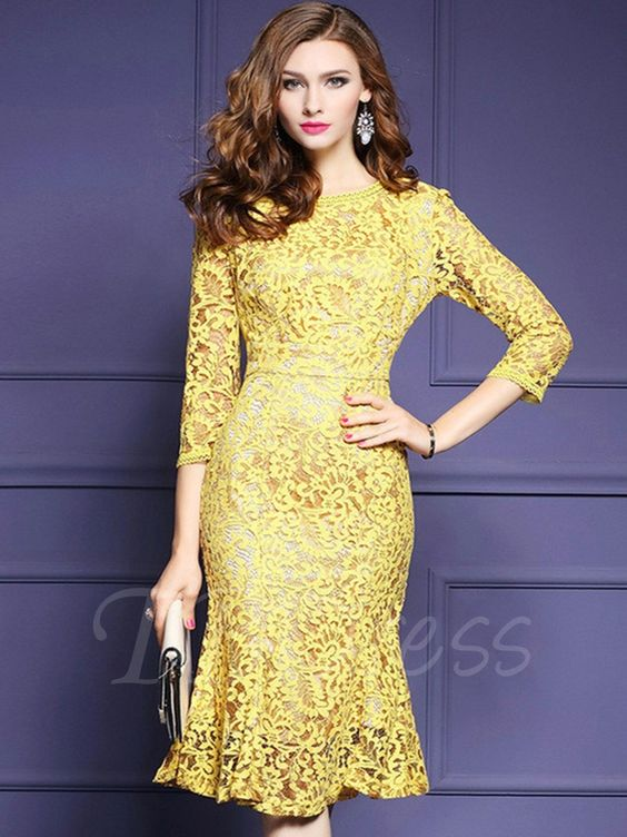 Yellow Fishtail Women's Lace Dress - m.tbdress.com