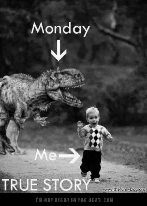 I HATE MONDAY. Means you have to go back to freakin' work. No more play.... you must go!