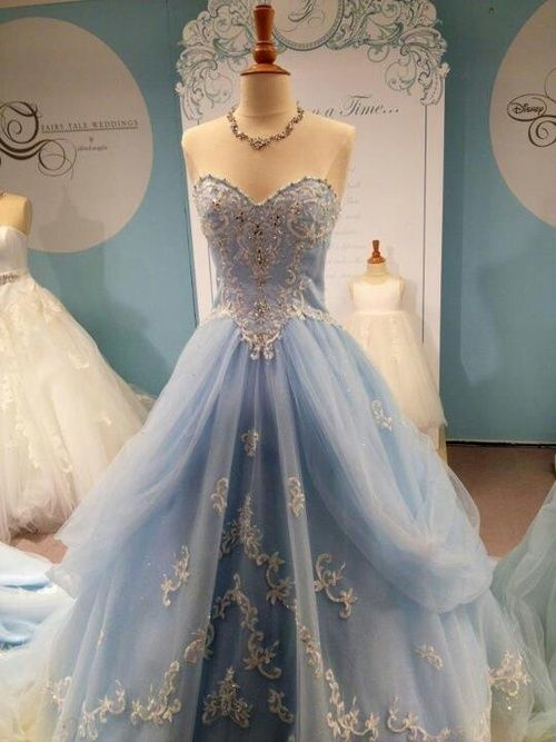 wonderfulworldofdisneyweddings: Cinderella inspired dress♥ this dress is from bridal and formal I believe: