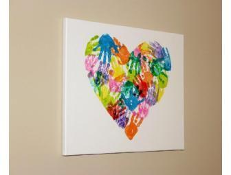 Handprint Heart Canvas Art from Miss Audrey's Th 1's Class - Online Fundraising Auction - BiddingForGood