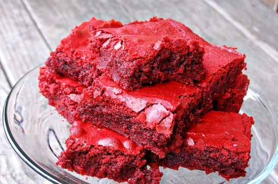 Red Velvet Brownies  1 cup  unsalted butter, at room temperature  1 1/2 cups granulated sugar  1 1/2 cups brown sugar  4 large eggs, at room temperature  2 oz red food coloring (optional)  4 tsp pure vanilla extract  2 1/2 cups all-purpose flour  6 tbsp unsweetened cocoa powder  1/2 tsp salt      Preheat the oven to 350 degrees F.  Butter and flour