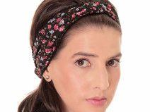 Schwarzes Kopftuch Bandana mit Blumenprint