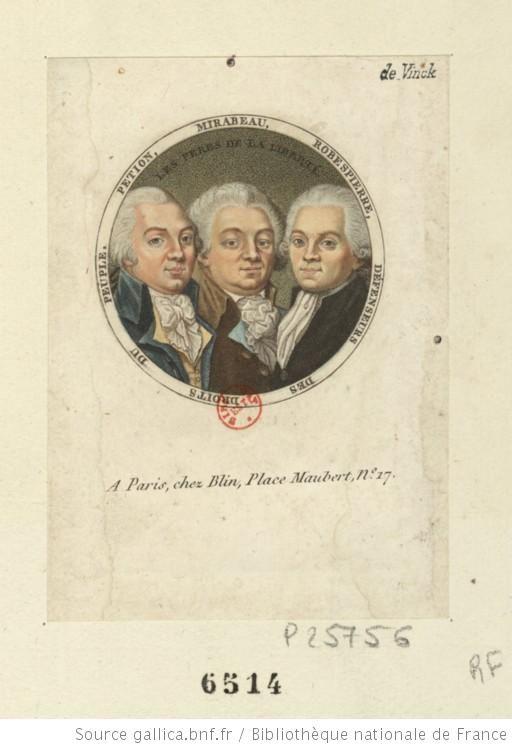 Les Peres de la liberté : Petion Mirabeau Robespierre, défenseurs des droits du peuple : [estampe] / [non identifié] - 1