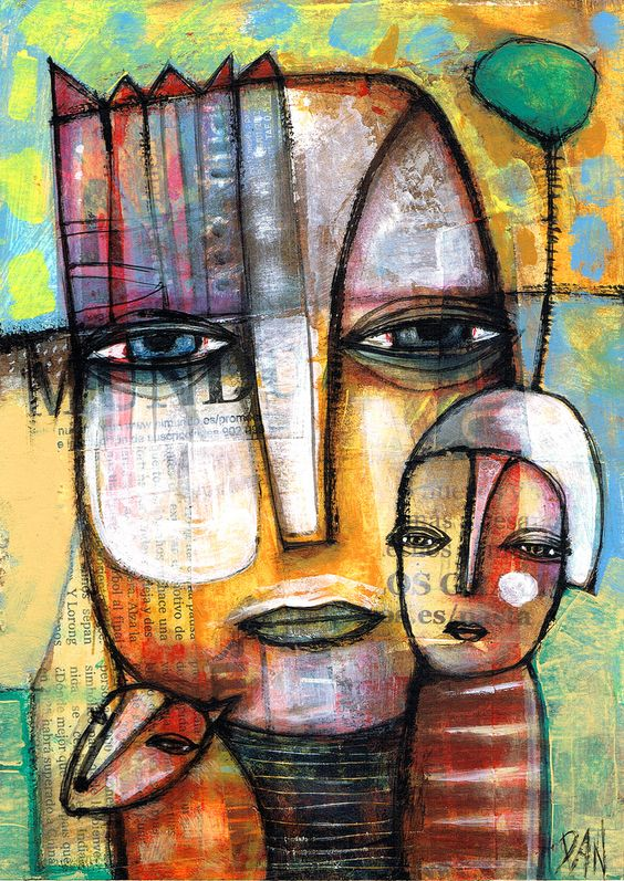 "acrylic and collage on paper 6x8"" 15x21cm www.dancasado.com"