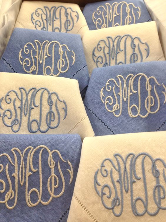 This in blue alternating Mottahedeh Blue Lace blue and Kelly Green!  www.bestmonogram.com
