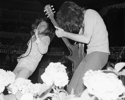 Robert Plant and Jimmy Page on stage with Led Zeppelin in 1969