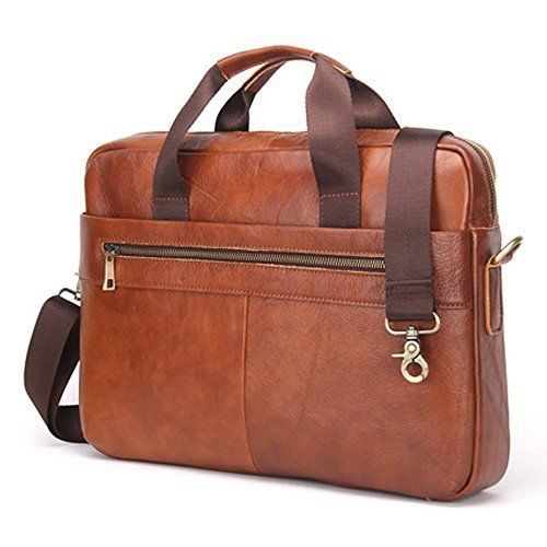 Man Briefcase Bag Leather Messenger Bag for 14 Notebook Man Bag Shoulder Bag(brown)
