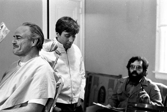 Marlon Brando Al Pacino and Francis Ford Coppola on the set of The Godfather | Rare and beautiful celebrity photos