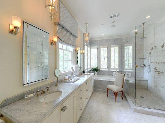 White Bathroom Marble Countertops: White Marble Bathrooms, Bathroom Design, Bathrooms White, Spanish Bathroom, Bathroom Countertop, White Bathroom, Bathroom Ideas, Ideas For Bathrooms, Master Bathroom