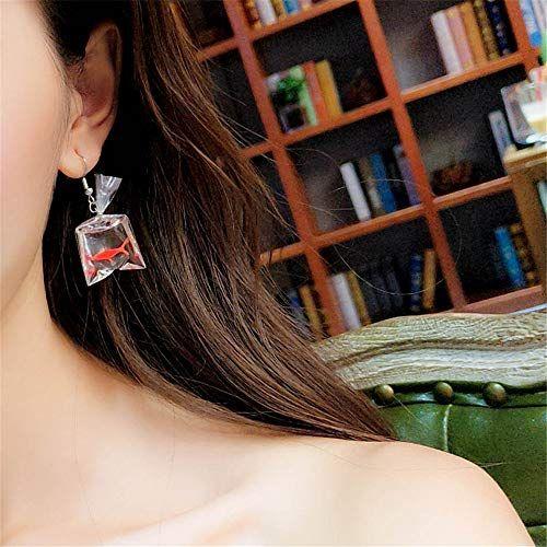 Moca 2 Pairs Funny Goldfish Earrings,Water Bag Shape Dangle Hook Earrings Charm Jewelry Gift Earrings for Women Girls One Red/& One Yellow