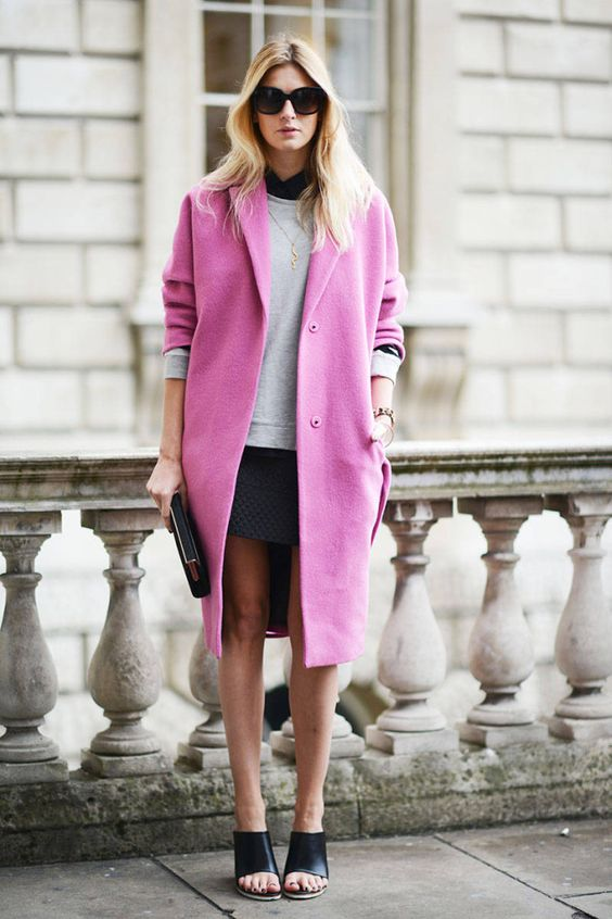 Use a bright coat to add pop to a muted ensemble.
