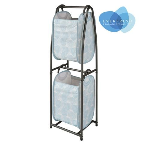 2 Tier Vertical Laundry Sorter With Hamper Totes And Everfresh