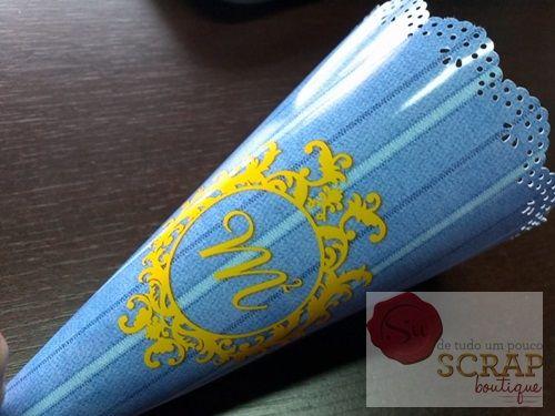 Cone de Guloseimas, lindo detalhe para os doces que seus convidados irão levar para casa. Orçamento: suscrapboutique@gmail.com